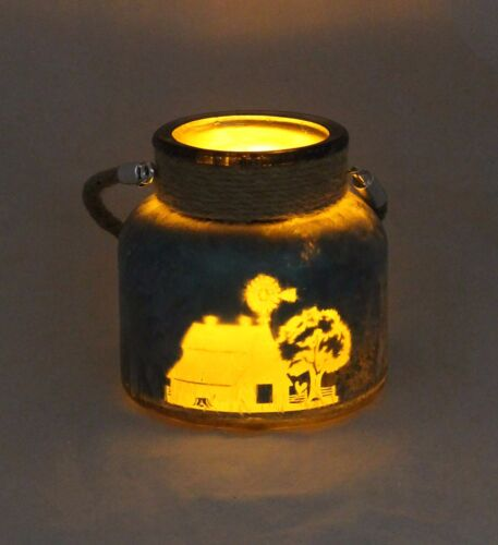 LED Candle,4 hour Timer,Glass With rustic rope,Engraved Farm Scene 5416