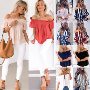 48f05b82b7 Image is loading UK-Women-Holiday-Off-Shoulder-Ladies-Casual-Summer-