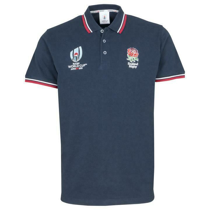 Rugby World Cup 2019 Mens England dual branded Navy Polo shirt S - 3XL