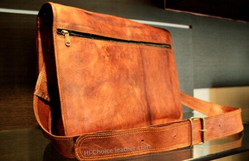New Men/'s Vintage Goat Leather Full Flap Messenger Laptop Satchel Shoulder Bag