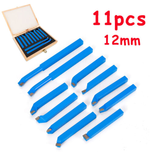 11pcs Metal Lathe Chisel Cutting Tools 12mm Carbide Tip Tipped Cutter Bit UK