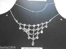 Genuine Sterling Silver Sri Lankan Blue Moonstone Gems Net Necklace (N1/13)