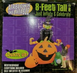 READ-Gemmy-Air-Blown-Inflatable-Halloween-8-039-ft-Witch-Trio-Pumpkin-Inflatable