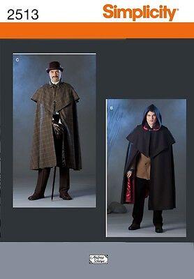 PATTERN SIMPLICITY Men's Victorian Cape Sherlock Holmes XS to XL SteamPunk 2513