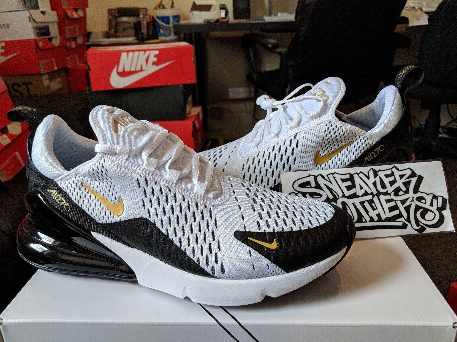 Nike Air Max 270 White Metallic Gold Black Running Men's Trainer AV7892-100 Cheap women's shoes women's shoes