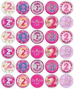 Image Is Loading 30 X 2nd Birthday Girl Cupcake Toppers Pink