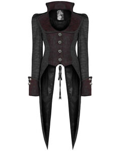 Punk-Rave-Womens-Gothic-Tailcoat-Jacket-Black-Red-Steampunk-Pirate-Dovetail-Coat