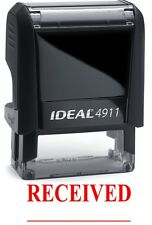 RECEIVED with Date Line on a IDEAL 4911 Self-inking Rubber Stamp with RED INK