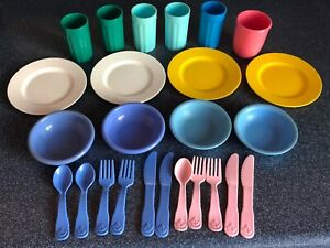 Vintage Fisher Price Play Kitchen Dishes Set Plates Bowls Cups Utensils 25 Items Ebay