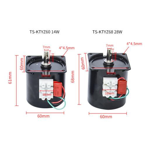 60//68KTYZ 220V AC Synchronous Motor Permanent Magnet 14W//28W CW//CCW 50//60HZ
