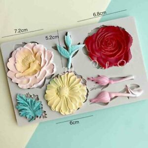 Silicone Rose Flower Fondant Mould Cake Decor Baking Leaves Topper Daisy Mold 3D