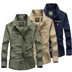 Military-Casual-Mens-Cotton-Shirt-Long-Sleeve-Army-Slim-Fit-Dress-Shirts-Tops