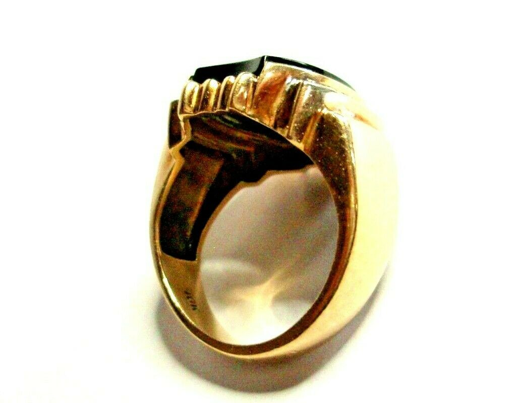 Heavy 8g Unisex 10K 2-Tone Gold Ring Solitaire On… - image 3