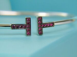 Tiffany Co T Wire Ruby Bangle 18k White Gold New Retired Rubies Ebay
