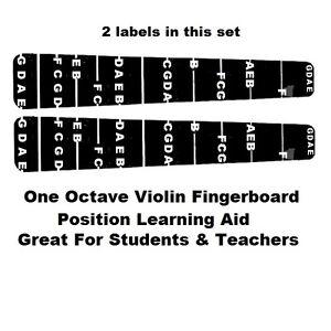 2 Violin Fiddle Fingerboard Fret Guide Labels Fingering 4/4