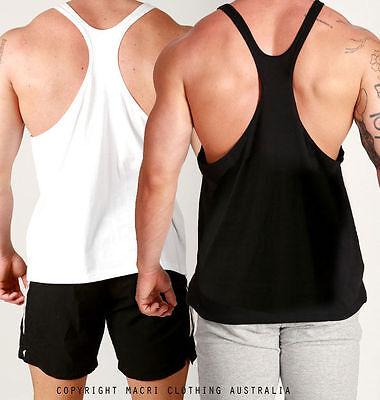 New Mens Y-BACK LOOSE fit Gym Weight Training Singlet Bodybuilding Stringer Tank