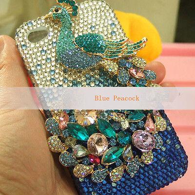 For Mobile Phone Cute Bling Luxury Peacock Rhinestones Diamonds Hard Cover Case