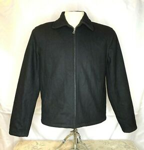 Tommy-Hilfiger-Mens-Wool-Blend-Black-Coat-Jacket-Size-Large-Full-Zip-Long-Sleeve