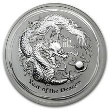 2012 5 oz Silver Australian Perth Mint Lunar Year of the Dragon Coin -SKU #63852