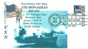 Uss Monaghan DD-354 Perla Harbor 1941 Azul Foto Cachet Naval Pictórico Pm
