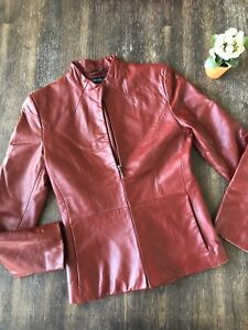 kenneth cole Red Leather 90s Vintage Jacket Womens XS