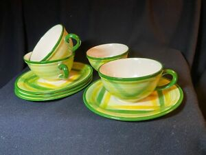 Vintage Vernonware Gingham Cup and Saucer Sets Hand Painted