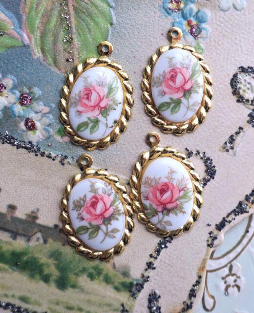 Vintage Limoges Charms Connectors Flowers Floral Oval Gold Roses rose NOS #204F