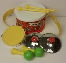Fisher Price little people band drum strap sticks cymbols tamborine shakers 1979