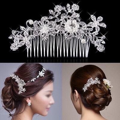 Wedding Bridal Crystal Rhinestone Flower Pearls Hairpin Diamante Hair Clip Comb