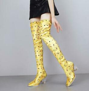 Womens-Ladies-Fashion-Printed-Crystal-Heel-Tretched-Over-Knee-Boots-Shoes-SKGB