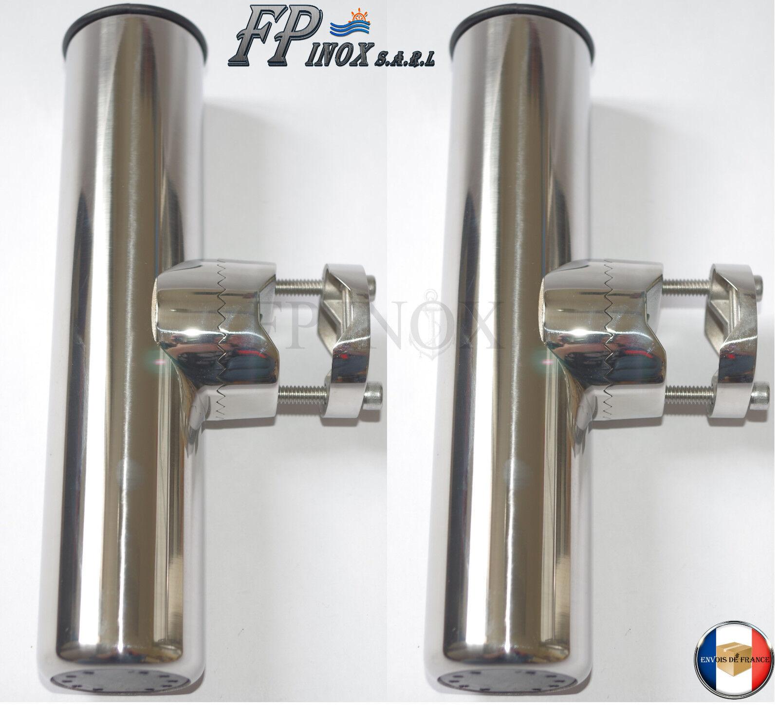 Porte Canne inox Pour Tube 22 25mm ( Lot de 2 ) Orientable inox Pèche Bateau