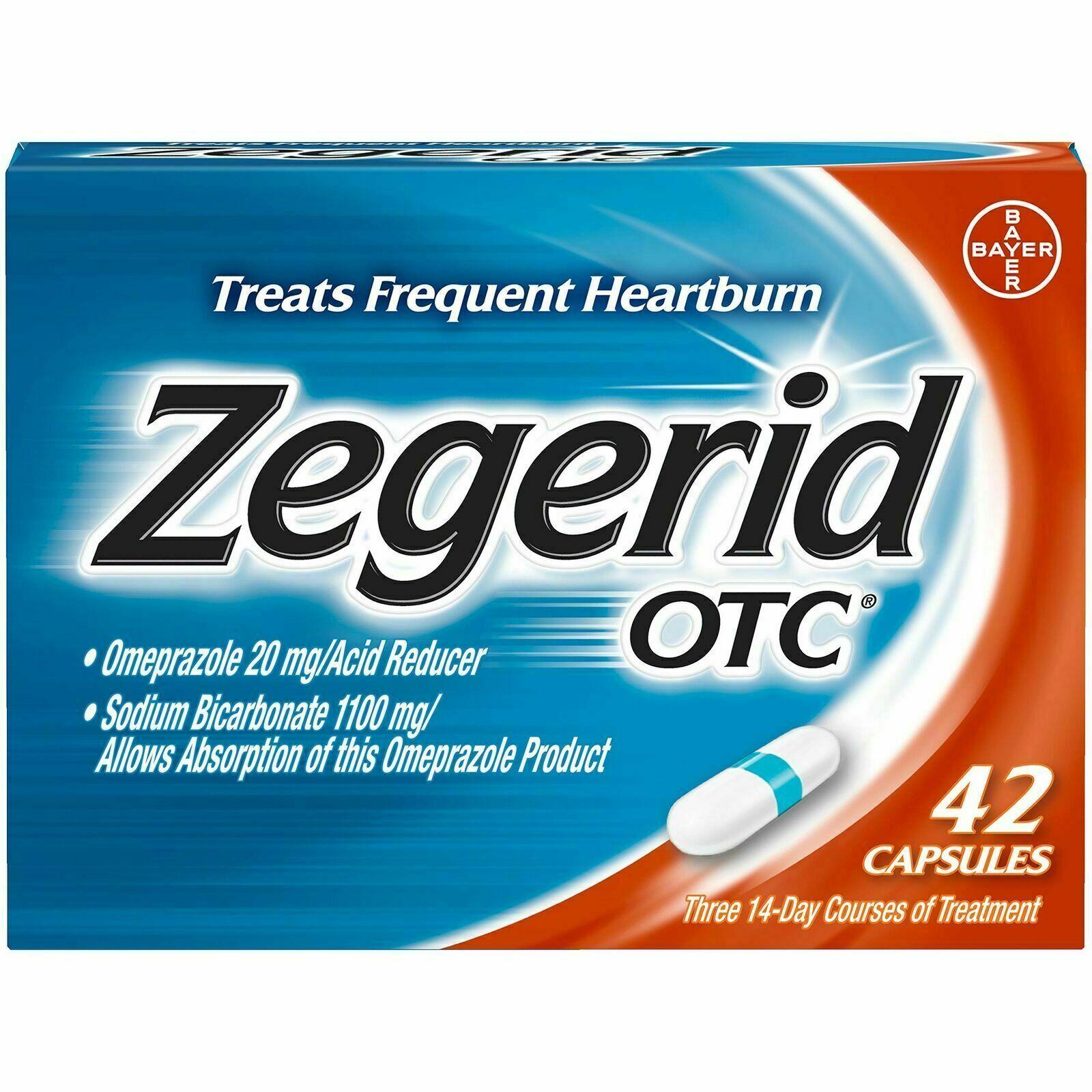 Zegerid OTC Heartburn Relief 24 Hour Stomach Acid Reducer Proton Pump 42 Capsule 1