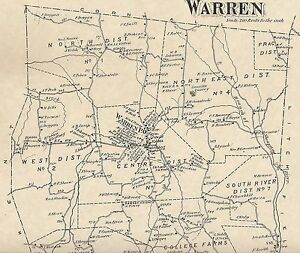 Warren Milton Lake Waramaug Shepaug CT 1874 Map with Homeowners