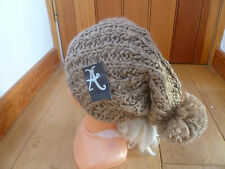 MONSOON ACCESSORIZE BISCUIT BROWN  CHUNKY LOOSE RIB OVERSIZED SLOUCHY BOBBLE HAT