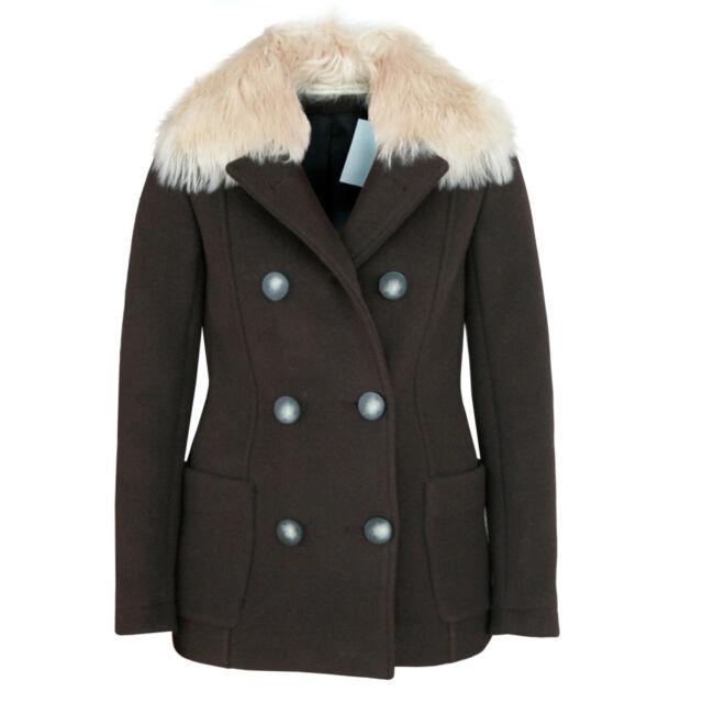 BALENCIAGA PARIS alpaca fur collar peacoat jacket Ghesquiere parka coat 36 NEW