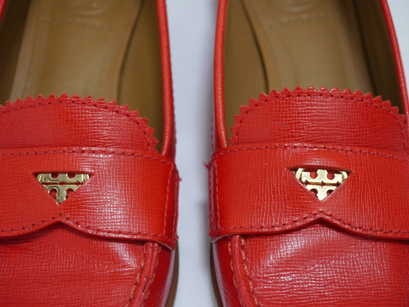 TORY BURCH 250 saffiano Pennie Penny Loafer ROT saffiano 250 Leder schuhe Größe 5.5 9f0202
