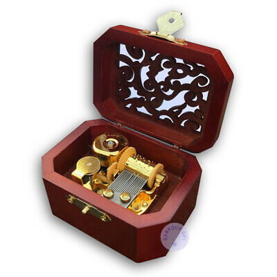 """Play /""""Castle in the Sky/"""" Melody Wooden Sankyo Music Box With an Antiqued Lock"""