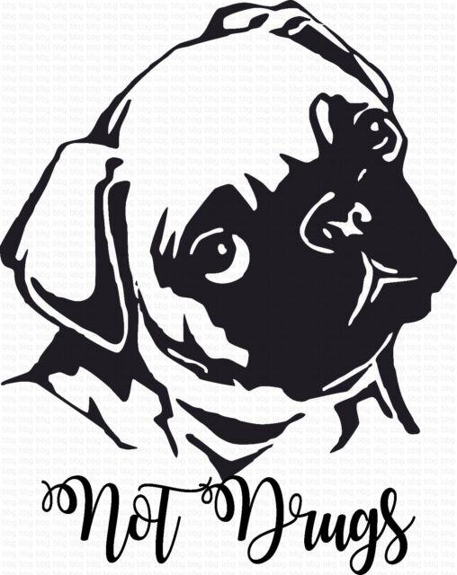 Funny Pug Dog Breed Decal Sticker Car Window Bumper Quality Die Cut