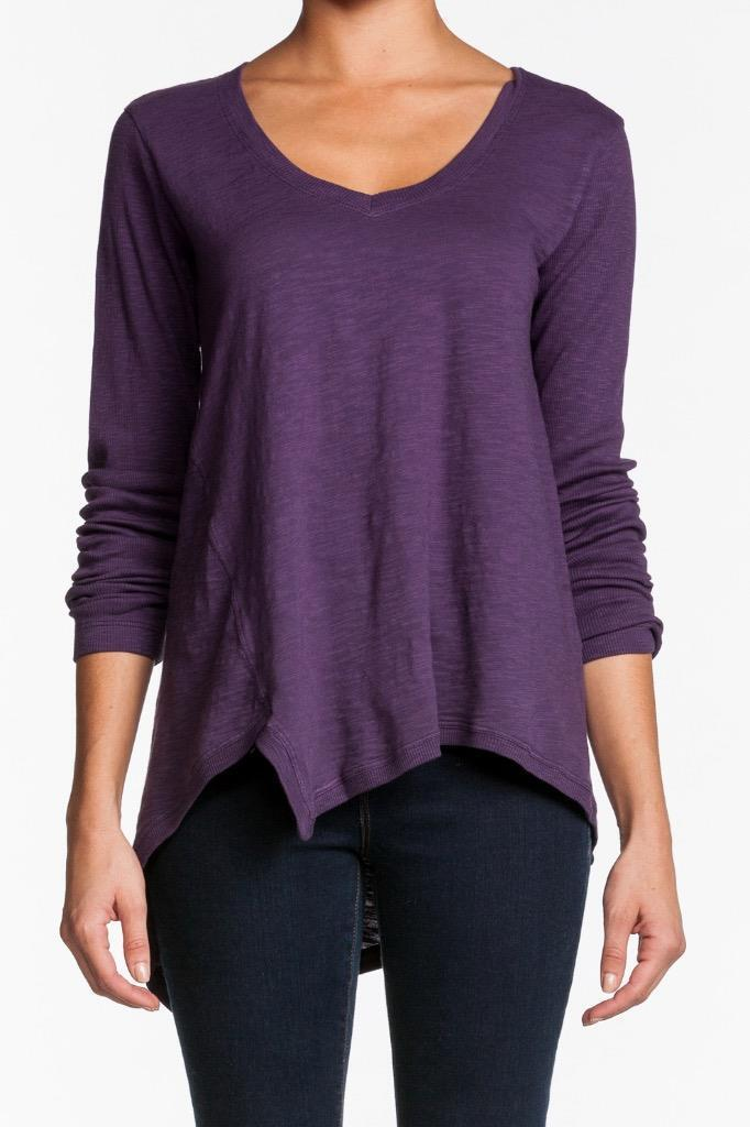 Wilt Slouch Slant Top JAM 31098 Long Sleeves Asymmetrical uneven Sweater lila