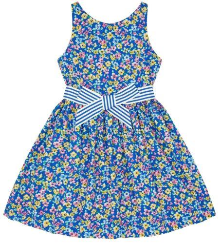 Blau Blumenkleid Ralph Mit Lauren Baumwolle138cmBnwt Mädchen 8y Bindegürtel srdtQCxhB