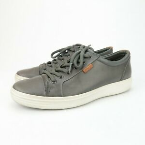 ECCO-Soft-7-Gray-Leather-Sneaker-Shoes-Mens-Size-42-EUR-8-US