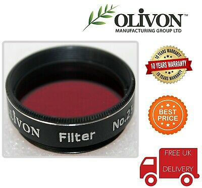 UK Stock Olivon 1.25 inches High Quality DEEP RED #25 Filter OL334784