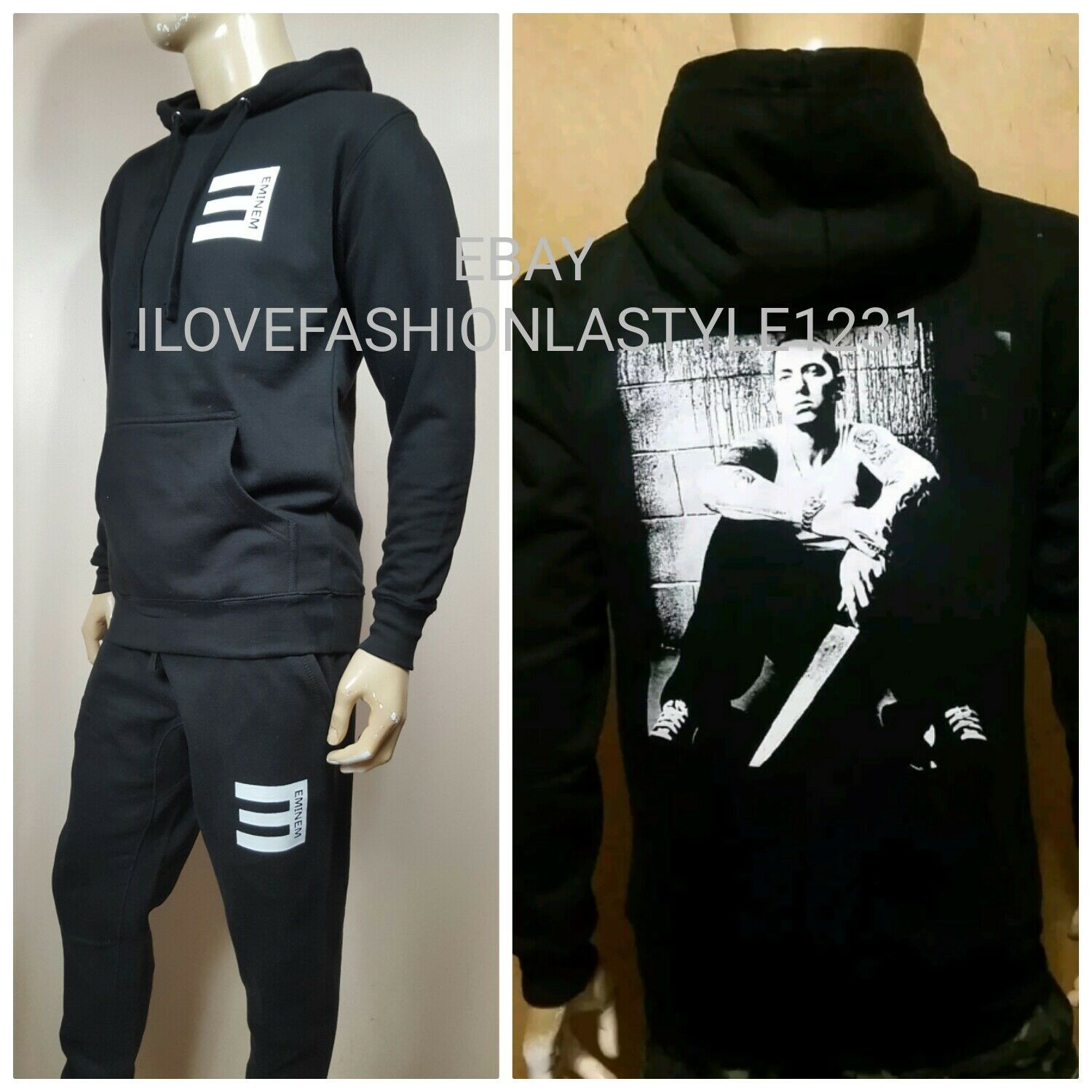 Eminem Detroit Best Pullover Hoodie Sweat Pants Set  Slim Shady rap god Gym Suit