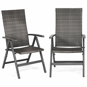 High Back Folding Lawn Chairs.Details About 2pc Set Gray Outdoor Folding Wicker Rattan High Back Chairs Patio Deck Furniture