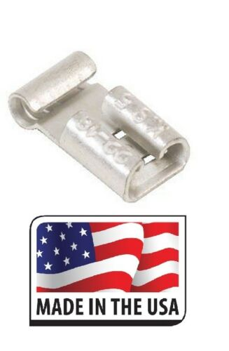 """X 22-18 NON INSULATED FEMALE FLAG TERMINAL .250 1//4/"""" CONNECTOR MADE IN USA 100"""