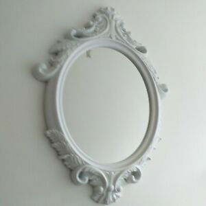 White Oval Antique Ornate Wall Mirror Large Dressing Bathroom Rocco Style Mirror Ebay