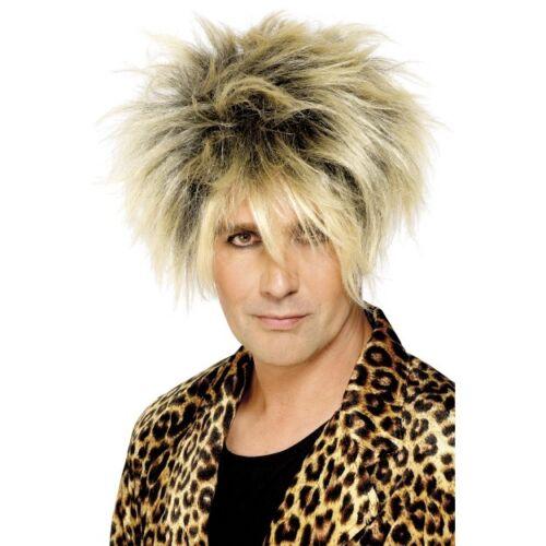 Mens 80/'s Wild Boy Wig Fancy Dress Star Rocker Long Blonde Short Glam Rock Messy