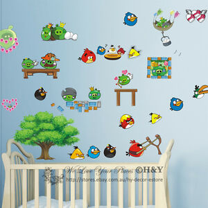 New Large Angry Birds Removable Wall Sticker Vinyl Decal