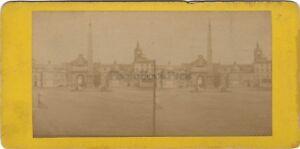 Roma Piazza Del Popolo Italia Foto Stereo Vintage Albumina Ca 1870