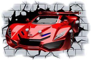 Huge-3D-Concept-Sports-Car-Crashing-through-wall-View-Sticker-Mural-Decal-87